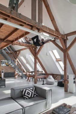 20 Office Attic Converted Into Loft Apartment Keeping Original Wood And Brick 17
