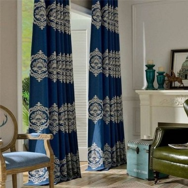 19 Simple Embroidery Curtains For Living Room 19