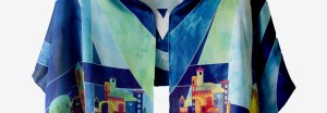 Silk Jewish Jerusalem Blue Prayer Shawl Front