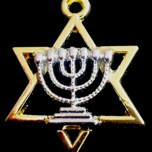 Jewish Menorah Star David Charm Necklace