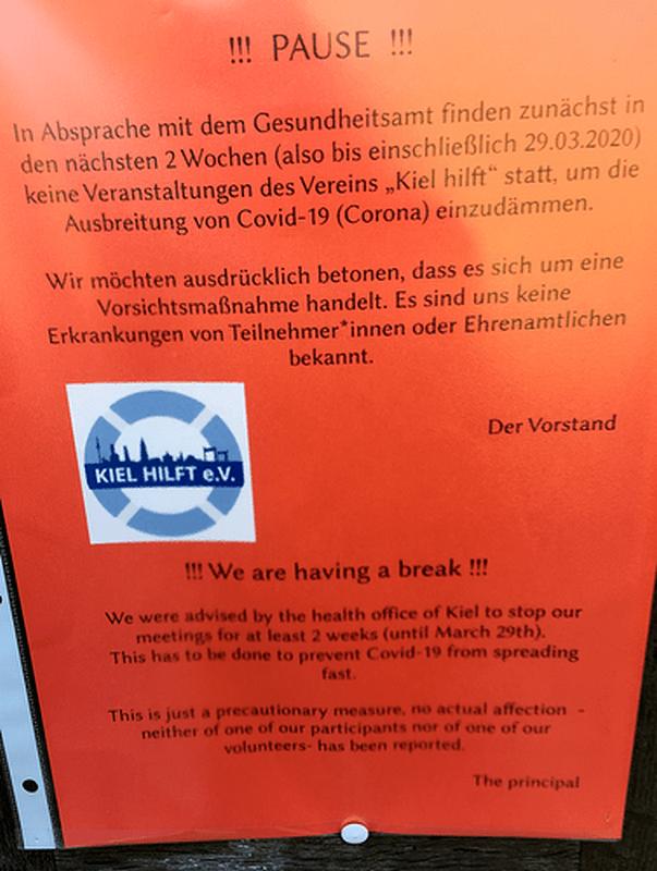 'Kiel hilft' in dieser Krise leider nicht: Kurze Pause im April 2020. Foto U. Nieber