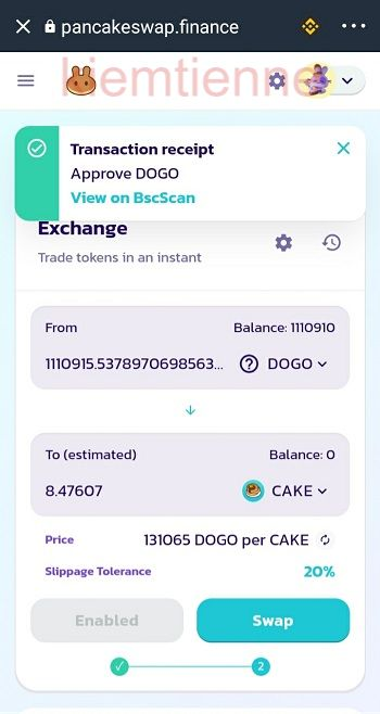 Tiếp tục ấn Swap để Swap đồng DOGO sang đồng CAKE