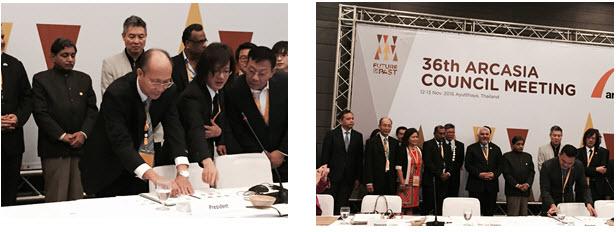 Ông Nguyễn Quốc Thông – Phó Chủ tịch Hội KTS VN ký vào Bản Tuyên bố chung về trách nhiệm xã hội của ARCASIA tại phiên họp chính thức Đại Hội đồng kiến trúc sư Châu Á lần thứ 36.