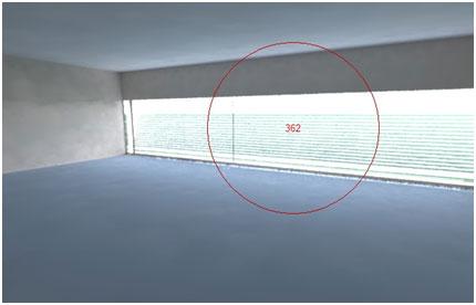 Tính mô phỏng: Cũng không gian đó nhưng sử dụng lớp vỏ kép để tăng hiệu quả cách nhiệt với lam che nắng đặt vào giữa lớp vỏ kép, mức chói đã giảm đi đáng kể, chỉ cần dùng thêm 1 phần nhỏ đèn chiếu sáng phía trong sâu của văn phòng là sẽ hết chói.