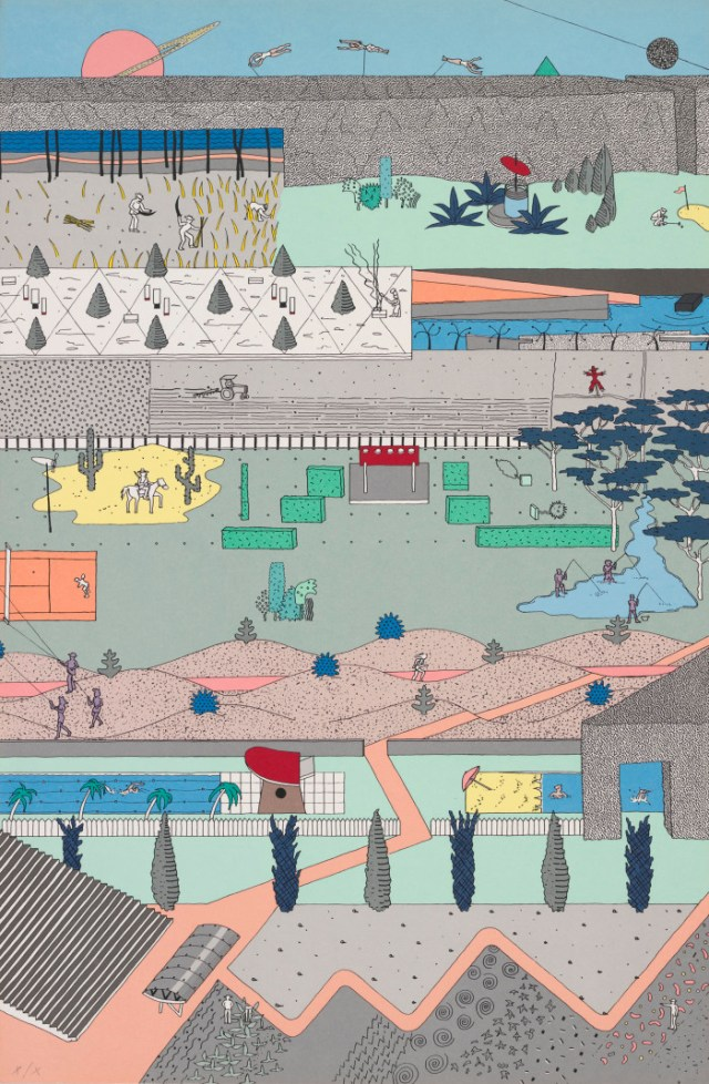 OMA entry for Parc de la Villete// Drawing by Alex Wall