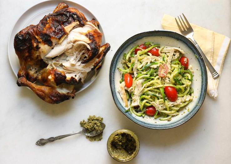 Making a rotisserie chicken pesto zoodle bowl