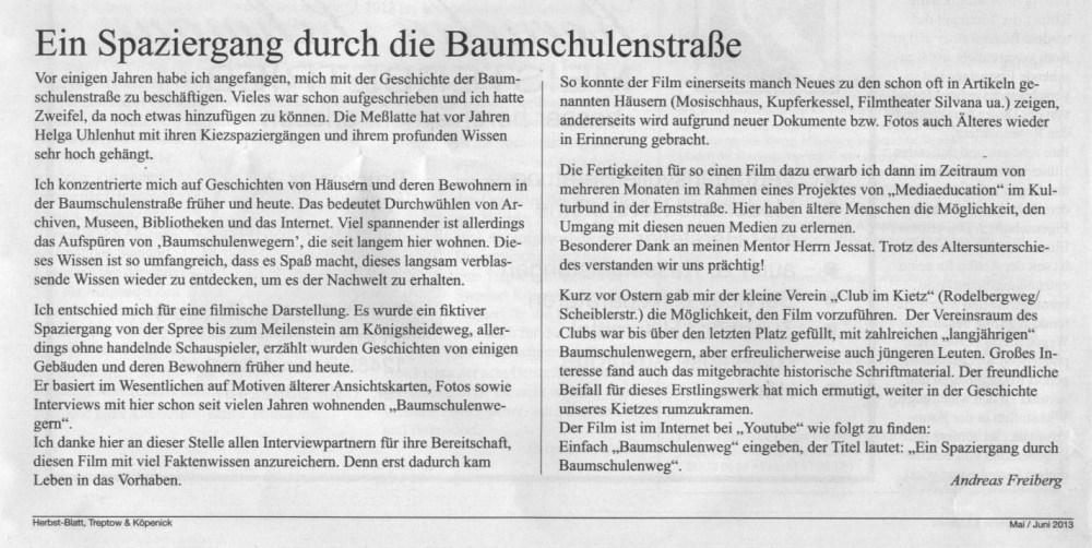 Zeitungsartikel im Herbst-Blatt- Treptow & Köpenick