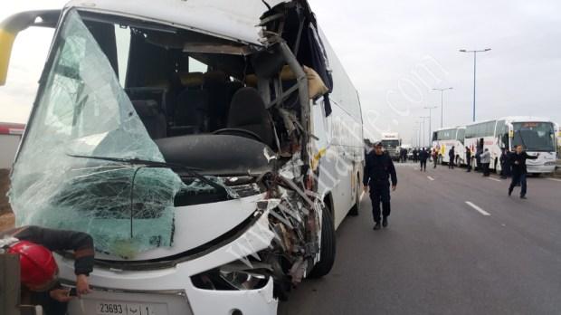 بالصور.. إصابة عشرات البوليس في حادثة سير