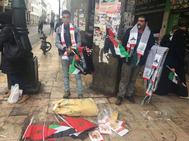 بالصور من الرباط.. البيع والشرا في مسيرة التضامن مع فلسطين!