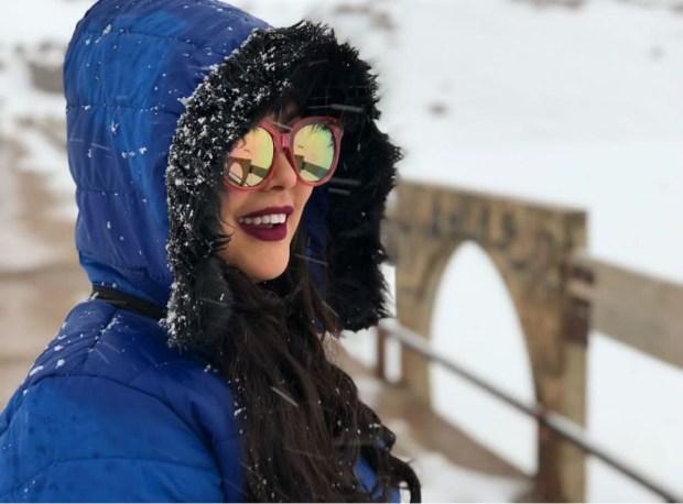 بالصور.. ابتسام تسكت والثلج