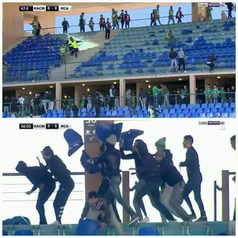 الشعب في ملعب مراكش.. جرح 14 من القوات المساعدة وتوقيف 65 شخصا!!