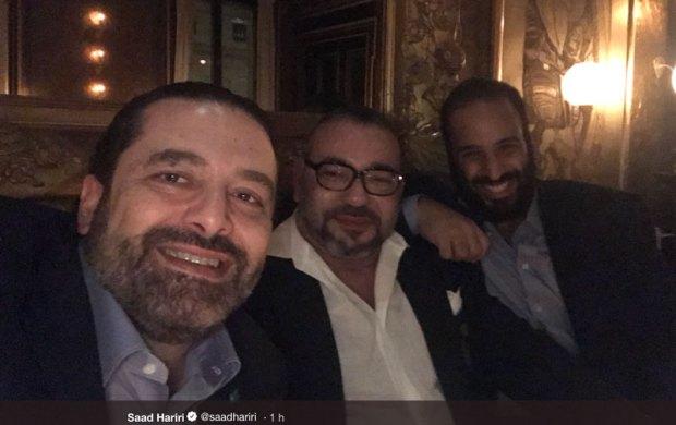 سلفي ملكي.. محمد السادس رفقة محمد بن سلمان وسعد الحريري في باريس
