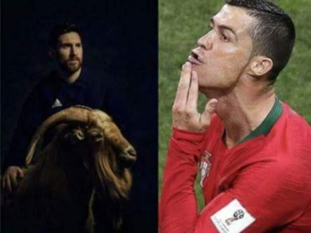 بالصور.. رسالة رونالدو إلى ميسي وحملته الإعلانية مع الماعز!