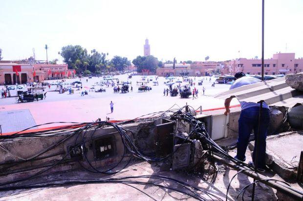 جامع الفنا/ مراكش.. خطر الأسلاك الكهربائية (صور)