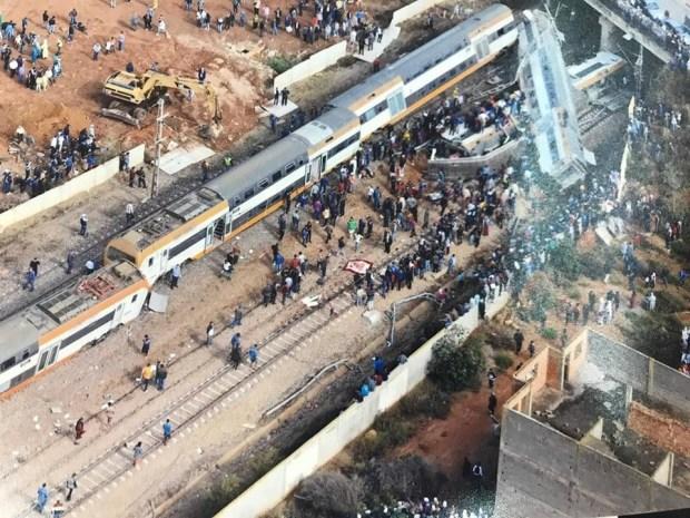 انحراف قطار بوقنادل.. صور جوية تظهر حجم الفاجعة