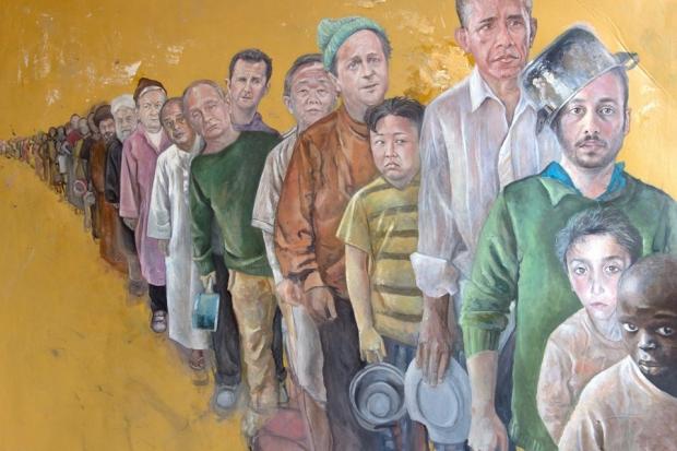 بالصور.. فنان سوري يبدع في تصوير زعماء العالم كلاجئين