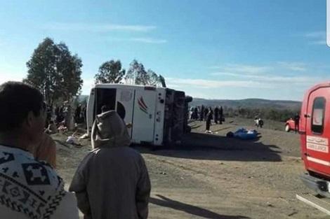 برشيد.. 14 جريحا إثر إنقلاب حافلة