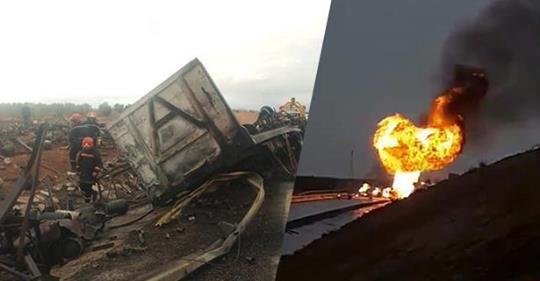 بالفيديو.. مشهد مرعب بعد انفجار شاحنة مليئة بالبوطا على الطريق السيار بين مراكش وأكادير
