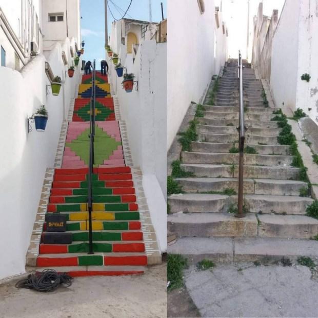 بالصور.. تونسيون يحولون مدرجا في مستشفى إلى تحفة فنية