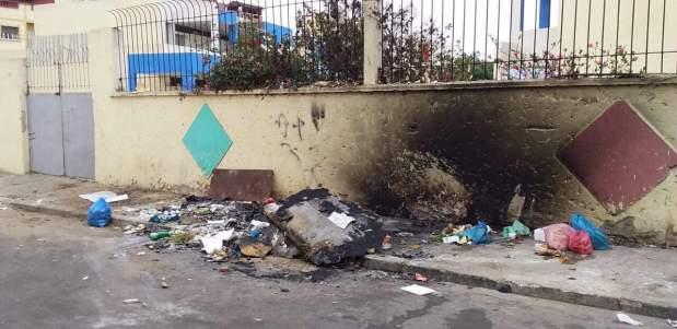 بالصور من آسفي وسلا.. حرق حاويات أزبال من طرف مجهولين