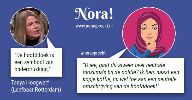 Nora quote over hoofddoek