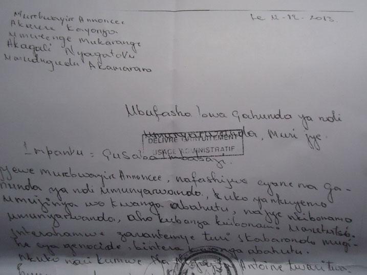 Kopi y'ibaruwa isaba imbabazi ikubiyemo ubuhamya bwa Murebwayire.