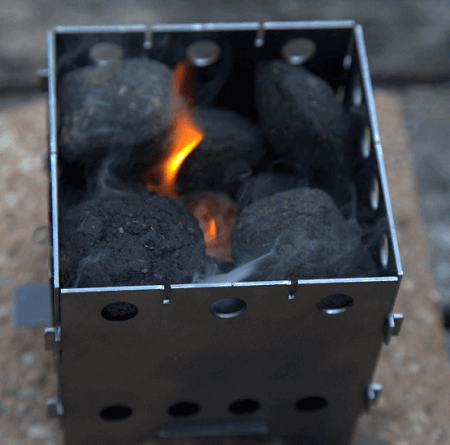 portable camping stove made of titanium