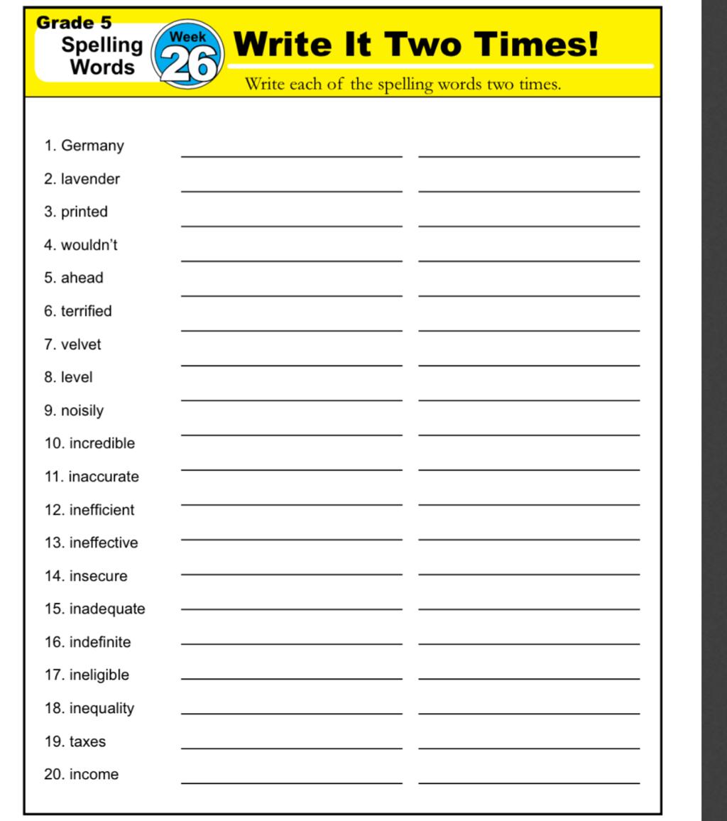 Spelling List 26