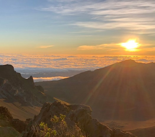 Haleakala Maui Hawaii Sunrise view over the Crater