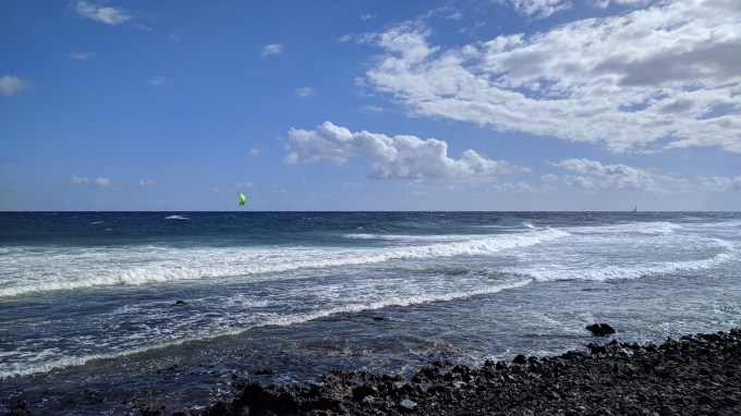 Kite surfing on a windy day in el medano