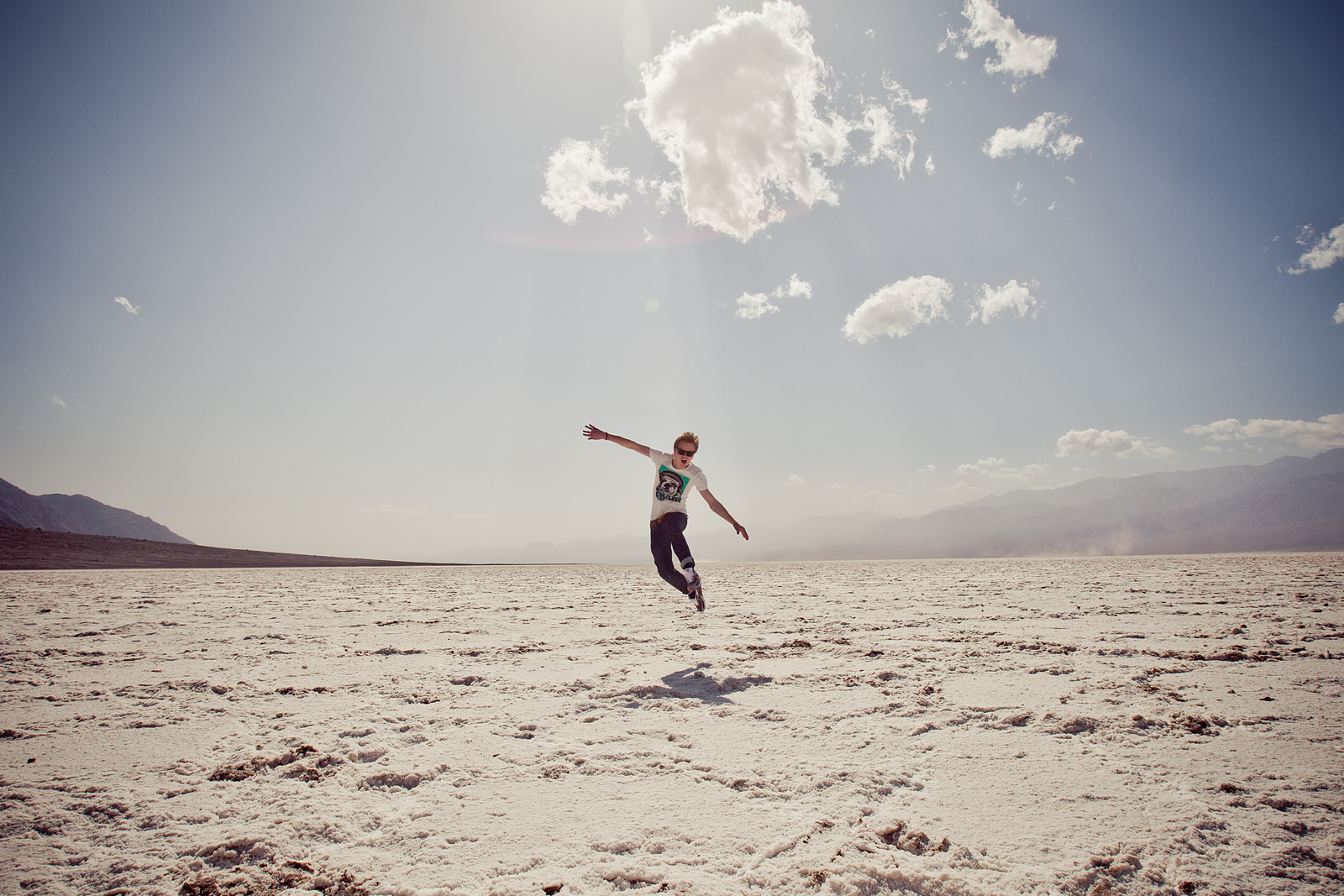 Henrik flying in Badwater Basin
