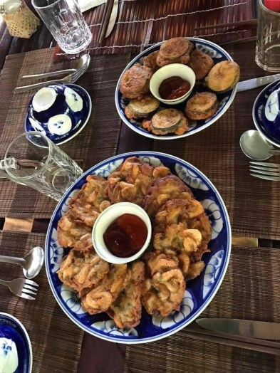 Fried prawn and eggplant
