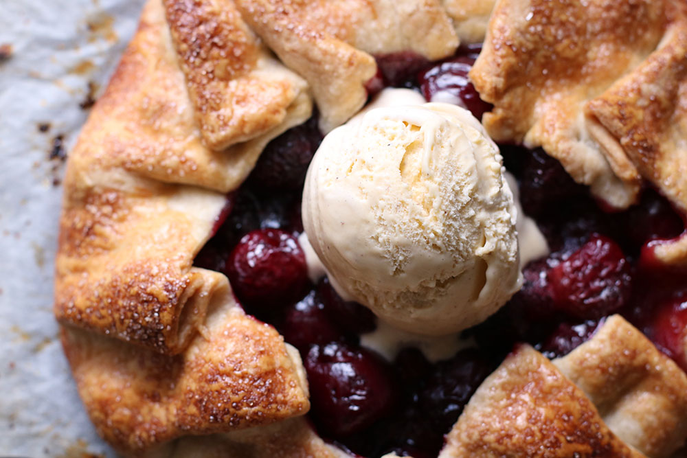 Cherry galette with vanilla ice cream