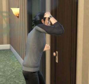 そして、さっそくきました。騒々しいお隣さん。ドアをガンガンやって文句を言いに行ってます。