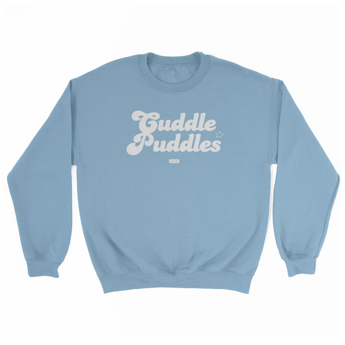 CUDDLE PUDDLE PARTY comfy sweatshirt in light blue at kikicutt.com