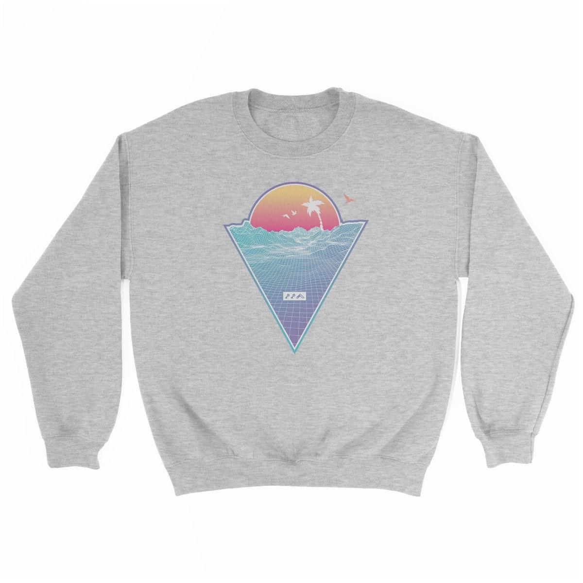 """OFF THE GRID"" cali vibes retro 80s design sweatshirt grey at kikicutt.com"