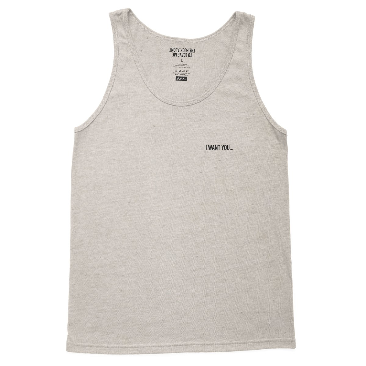 """""""I WANT YOU... TO LEAVE ME THE FUCK ALONE"""" introvert tank top in oatmeal"""