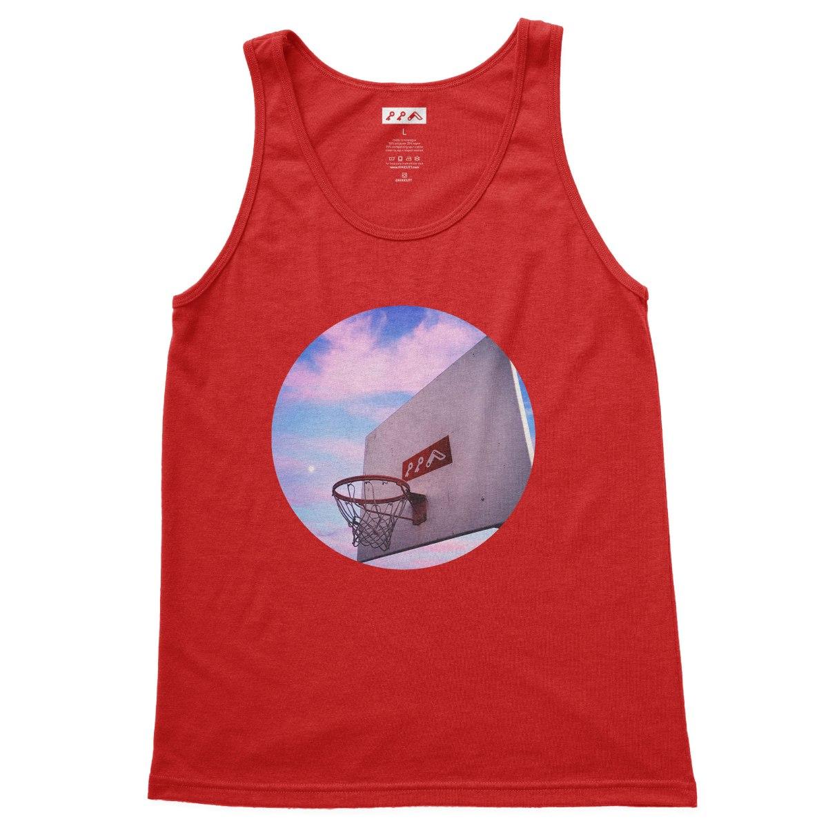 """HOOP DREAMS"" soft basketball tank tops in red tri-blend by kikicutt"
