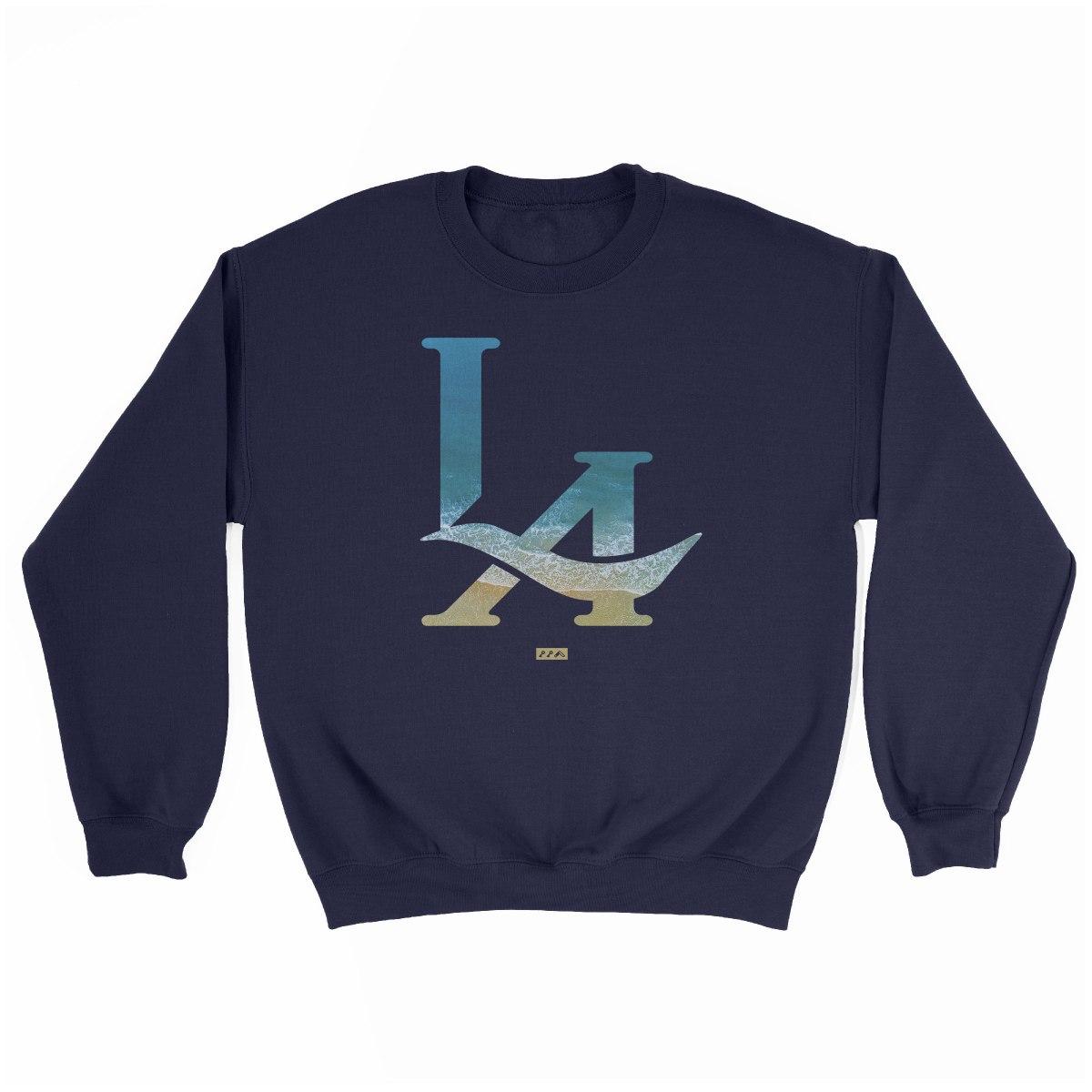 LA logo los angeles hermosa beach sweatshirt in navy at kikicutt.com
