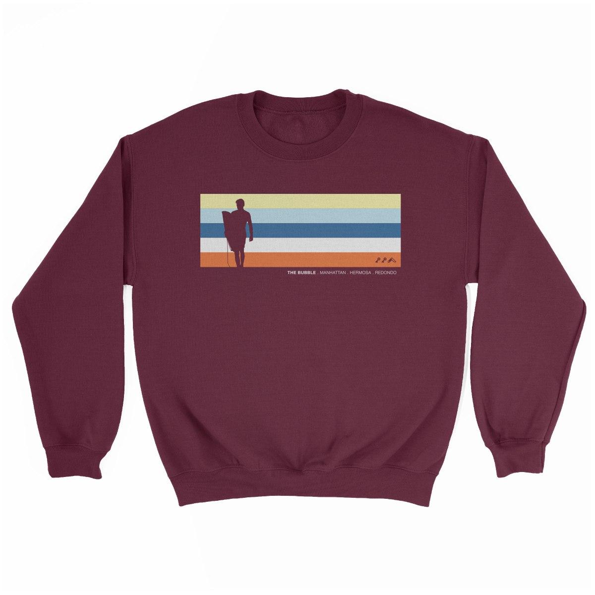 the bubble redondo hermosa manhattan beach sweatshirt in maroon by kikicutt sweatshirt store
