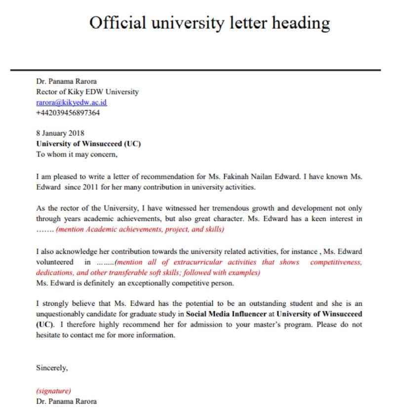 Format Menulis Surat Rekomendasi Untuk Mendaftar ...
