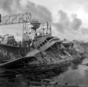 Aftermath of Pearl Harbor attack - December 7, 1941