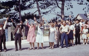 French civilians welcoming their liberators