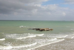 Remnants of Mulberry harbor still visible at Arromanches