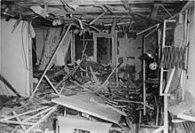 Heavily damaged conference room where Hitler escaped the assassination attempt