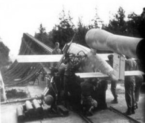 V-1 flying bomb ready for launch from ramp