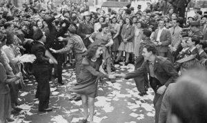 Dancing in the streets in London - V.E. Day