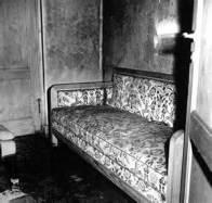 Bunker sofa where Hitler died