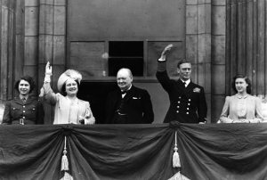 King George VI, Queen Elizabeth, Princess Elizabeth, Princess Margaret and Winston Churchill on Buckingham Palace balcony - V.E. Day, May 8, 1945