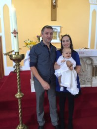 Finn O'Donnell with his parents Katie and Joseph on his baptism day.